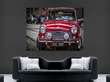 MINI COOPER CLASSIC  CAR  RED  ART WALL LARGE IMAGE GIANT POSTER