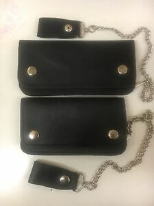 Brand New Biker Black Motorbike Genuine Leather Wallet With Chain Two Sizes