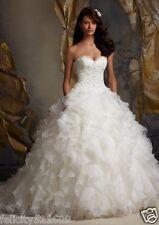 Custom White/ivory Ruffled Organza Applique Bridal Ball Gown Wedding Dress 4-26