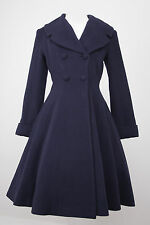 Ladies vintage 1940s/50s style fit and flare flattering wool Coat in Navy Blue