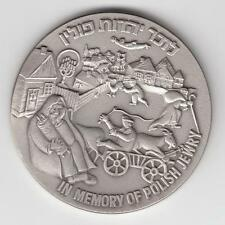 Israel 1989 in Memory of Polish Jewry State Medal 50mm 60g Pure Silver + COA