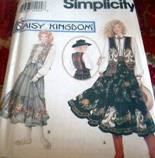 LOVELY VTG DAISY KINGDOM WESTERN SKIRT SASH BLOUSE & VEST Sewing Pattern 12-16