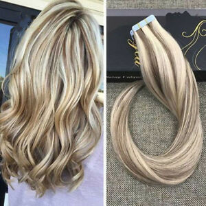 8A Balayage Blonde Remy Tape In Human Hair Extensions Skin Weft 40pcs 100g