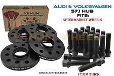 4Pc Volkswagen Golf GTI Jetta 17MM Hub Centric Wheel Spacer Kit 57.1 Cone Bolts