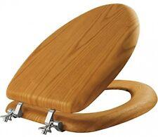 Luxury Comfort Seats Elongated Oak Wood Toilet Seat Chrome Hinges Free Ship