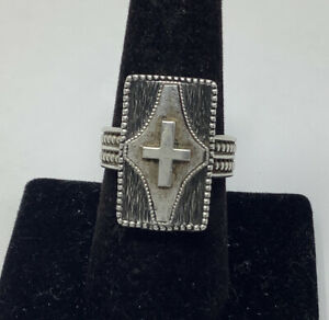 Sterling Silver 925 Beaded Band Unique Cross Ring Size 8 (12.07g)
