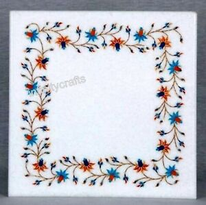 12 x 12 Inches Marble Side Table Top with Pietra Dura Art Patio Coffee Table