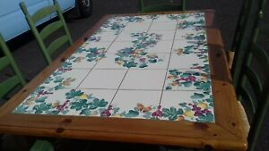 table by Nicola Fasano G, hand painted inlaid ceramic tiles with grapes/peaches
