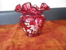 "Vintage Fenton Cranberry Vase 4-1/2"" hand painted, artist signed, ruffled top"