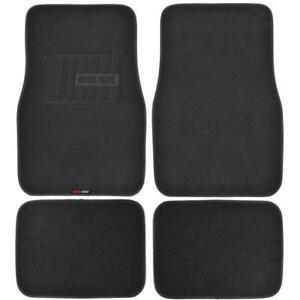 MOTOR TREND Carpet Floor Mats - Black Premium Material - No Slip Backing