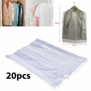 """20pc 48"""" Long Clear Polythene Garment bags Protectors Covers Dry cleaning Bags"""