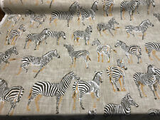 Africa Zebras Ubi Putty Home Accent Fabric by the yard