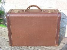 Vintage Hardside Suitcase Brown Luggage Leather Handle & Trim Travel Weekender
