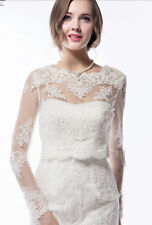 Lace Long Sleeve New Bridal Jackets White/Ivory Wedding Bolero/Wrap/Shrug Custom