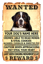 Bernese Mountain Dog Wanted Poster Flex Fridge Magnet Personalized Name