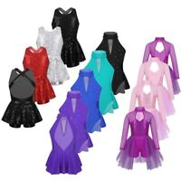Kids Girls Ballet Dance Dress Sequins Modern Jazz Performing Skating Costume
