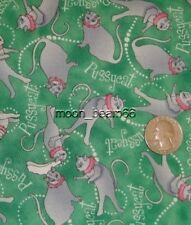 The OWL &PUSSYCAT Pussycats Toss on Green Cotton Fabric YARD