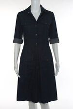 Calypso Christiane Celle Dark Rinse Collared Denim Shirt Dress Size Small
