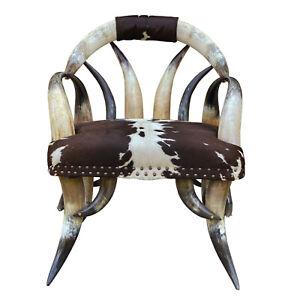 Antique Southwestern Cowhide Steer Horn Chair