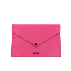 RRP€490 MIU MIU Leather Clutch Bag Large Grainy Heart Detail Popper Flap Closure