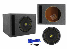 "Kicker 44CWCS104 CompC 10"" 500 Watt 4-Ohm Car Subwoofer+Vented Sub Enclosure Box"
