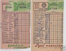 """# SCHEDINE TOTOCALCIO CON PUBBLICITA' """"PERUGINA"""" trebon e baci- 1957-61"""
