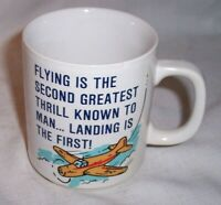 "VINTAGE PILOT LANDING PLANE COFFEE CUP MUG GREAT GRAPHICS 3 1/2 "" TALL"