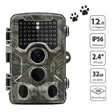 Wildkamera Überwachungskamera 1080P 12MP Jagdkamera Fotofalle PIR Nachtsicht