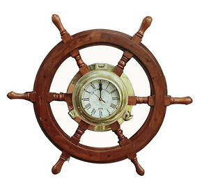 "24"" Decorative Wooden Ship Wheel Wall Clock Antique Nautical Hanging Clock"