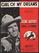 Girl of My Dreams 1945 South of the Border Gene Autry Sheet Music
