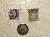 Japan 1 SEN 1935 copper coin Stamp Japan 15 Sen 1876 5 Sen 1901