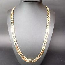 """24K Yellow Gold Filled 23.6"""" Men Jewelry Figaro Chain (Curb) Necklace CA FN3080"""