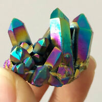 1pc Natural Crystal Quartz Rainbow Titanium Cluster Mineral Specimen Healing VUG