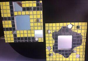 Handmade Mosaic Glass Art Mirrors with Baubles Black Yellow White PAIR of 2