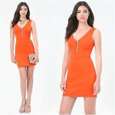 BEBE ORANGE DEEP V CLUB DRESS NWT NEW $119 MEDIUM M