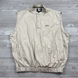 FootJoy Vest Mens Large Pullover Sleeveless Golf Golfer Beige Quarter Zip C5