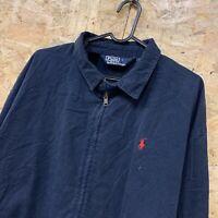 Genuine Ralph Lauren Dark Blue Polyester Full Zip Lined Harrington Jacket Large