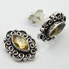 """STUD POST Earrings ! 925 Sterling Silver Rare CITRINE LIGHTWEIGHT Jewelry 0.6"""""""