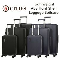 5 Cities Lightweight ABS Hard Shell Hold Check in Luggage Suitcase & Cabin Bags