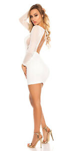 Sexy Mini Abito Bianco Aderente Stretch Trasparente Aperto Dietro Jersey Koucla