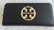 Tory Burch Zip-around Wallet Tory Black Saffiano Leather Big Golden Logo