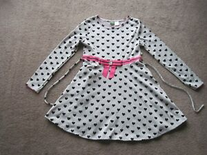 DOLLIE & ME 12 LONG SLEEVED DRESS, GRAY WITH BLACK  HEART PATTERN, THIN SASH