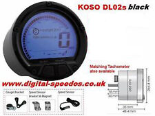 KOSO DL02s Digital Motorcycle Speedometer Speedo Fuel Gauge w/ Speed sensor blk