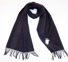 BOSS Hugo Boss BLACK with Dark Grey STRIPE Fringe Winter SCARF Wool Cashmere