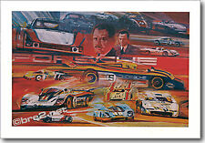 """REDUCED Porsche Race Cars 25""""x17.5"""" signed by artist George Bartell"""