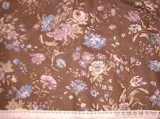 """NEW + VINTAGE BROWN COTTON WITH WHITE+BLUE LARGE FLORAL PRINT 56"""" W X 3.6METERS"""