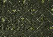 Softline Fabric Green Embroidered Poly Silk Drapery Upholstery