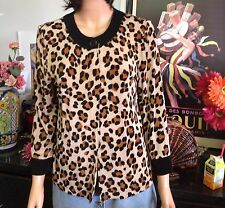 Leopard Knit Top The Teavel Collection Designer Fashion Size S Stylsh