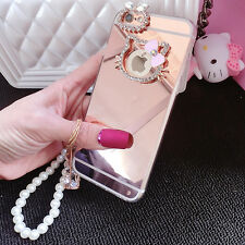 Luxury Mirror Bling Diamond Crystal Hello Kitty Soft+Hard Case Cover for iPhone