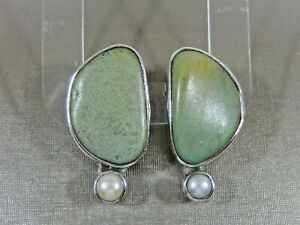 ECHO OF THE DREAMER MARS AND VALENTINE RIVER STONE  AND PEARL CLIP EARRINGS
